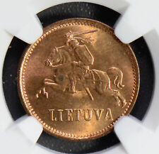Lithuania 1936 2 Centas NGC MS64RD rare in red! NG0490 combine shipping
