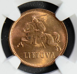 Lithuania 1936 2 Centas NGC MS64RD rare in red! NG0490 combine