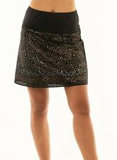 NWT Lucky In Love Ladies Laser Shine Golf Tennis Black Gold Skort Long New GB54