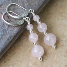 Handmade Pink Rose Quartz Round Beads Dangle Earrings AAA