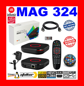 ✅ MAG 324 INFOMIR ORIGINAL NEUF HD FHD HEVC H265 IPTV OTT STREAMING BEST SELLER