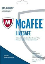 McAfee LiveSafe, 1 User - Unlimited Devices, 1 Year - NEW DOWNLOAD VERSION