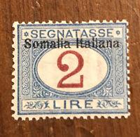 Somalia  Sc.#J20 Fine MOGH  Postage Due - 2 Lire - Blue & Magenta  C.V. $240