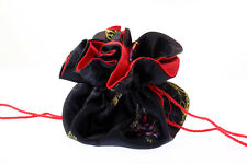 Ed Hardy Black 10 Inch Round Silk Jewelry Gift Pouch Bag