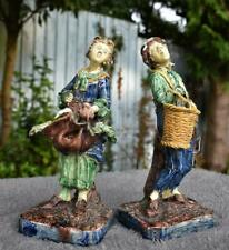Fine Pair of Antique Majolica Figures by  Eugene Ladret (French, 1832-1898)
