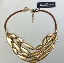 """DANSK Smykkekunst 'Tyra' Leather Gold Plated Beads Necklace 16"""" -18"""" NEW"""