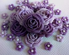 SHADES OF LILAC EDIBLE ROSES AND FLOWERS Sugar flowers Cupcakes weddings cake