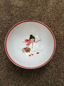 Metal Holiday Serving Bowl with Snowman