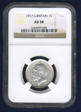 GREAT BRITAIN  ENGLAND GEORGE V 1917 1 SHILLING SILVER COIN CERTIFIED NGC AU-58