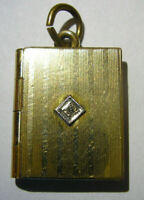 Antique Book Locket Jewelry Charm Opens w/Hinge Marked 1/20 12k GF Gold Filled