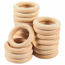 20 Pack Unfinished Natural Wood Ring for Ring Pendant, DIY Connectors, 2.2 Inch