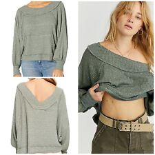 Free People Westend Thermal Top Army Size XS NWT