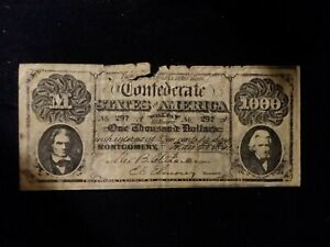 Extemely RARE. 1861 Confederate States $1000 dollar bank note reproduction.
