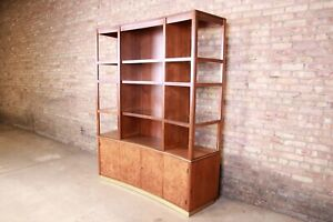 Edward Wormley for Dunbar Walnut & Burl Superstructure Wall Unit or Room Divider