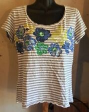 Banana Republic Womens T-shirt Top Tee Medium Med M Stripe Striped Floral S/S