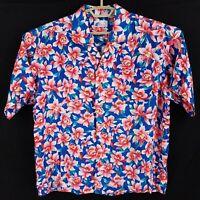 Vtg Islander Red Pink & Blue Floral Rayon Short Sleeve Hawaiian Shirt Mens XL