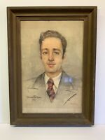 """Original Watercolor Painting Signed Portrait 14x21"""" +Framed Vintage Russian 1947"""