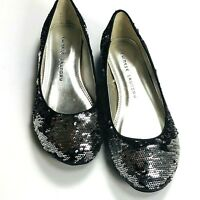 Chinese Laundry Good Times Womens Shoes Size 5.5 M  Black Silver Sequin Flats