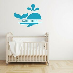 Customized Monogram Whale Nursery Kids Room Wall Decal Last Name