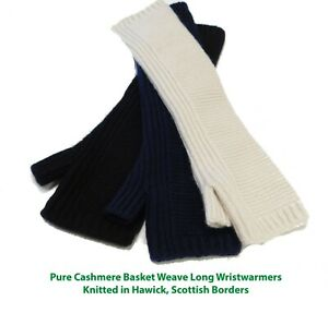 Textured Pure Cashmere Wristwarmers - Longer Length - Made in Hawick, Scotland