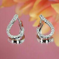 1.5Ct Round Cut VVS1/D Diamond Tear-Drop Stud Earring Womens 14K White Gold Over