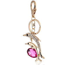 Handbag Buckle Charm Accessories Pink Two Dolphins Keyrings Key Chains HK51