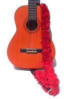 "GUITAR STRAP KID SIZE RED ORGANZA roses 2"" by: Capturing Couture KID-RED"
