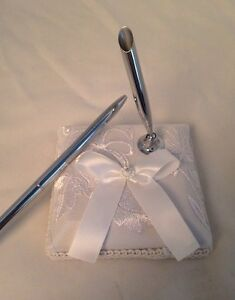 White Satin Flower  Signature Pen Holder And Pen- Bridal/ Wedding Accessories(2)