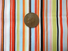 STRIPES IN LIME GREEN, BROWN, ORANGE, PALE BLUE,ETC- COTTON FABRIC F.Q.'S