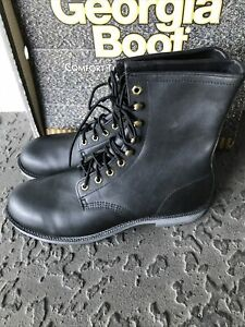 """VTG Georgia Work Boot 8"""" Steel Toe Black Leather Made In USA NOS BOX SZ 12 R"""