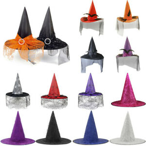 Adult Children Kids Props Witch Hat Halloween Witches Fancy Dress Costume Hats