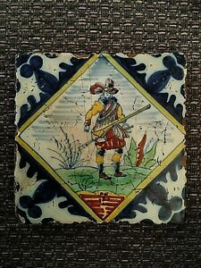 Antique Delft polychrome tile depicting soldier/musketeer  21/490S