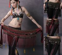 Belly Dance Costume Hip Scarf Tribal Fringe Tassel Belt Copper Coins 3 colours