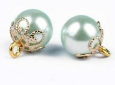 4 X 10MM LIGHT GREEN PEARL GOLD SHANK SEW ON BUTTONS