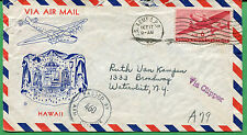 Hawaii Censored Air Mail Cover - 1940s Code Of Arms Cachet S.W.A.K.  -S8240