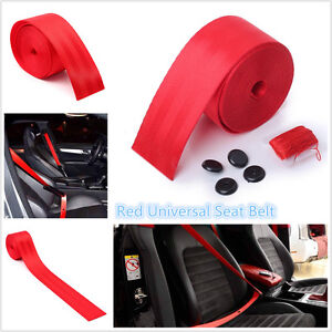Universal Red 3.8m Car Harness 3 Point Racing Front Safety Retractable Seat Belt