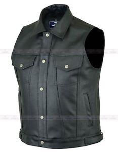 Mens Motorbike Motorcycle Genuine Leather Classic Trucker Waistcoat Bikers Vest