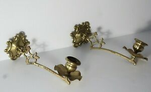 Pair Antique English Victorian Brass Swivel Wall Mounted Bracket Candle Sconces