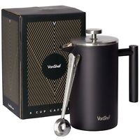 VonShef 34oz 12 Cup Stainless Steel French Press Cafetiere & 2in1 Coffee Spoon