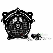 Black CNC Deep Cut Air Cleaner Kit Set For Harley Touring FLHT FLHR 2008-2016