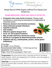 Simply Natural 100% Organic Caffeine Free Papaya Leaf Herbal Tea 30 Tea Bags