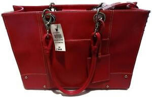 Wilsons Stitched Leather Tote Purse Laptop Bag Rose All In One Silver Studs NEW