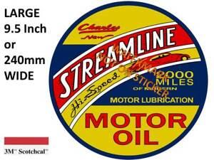 VINTAGE STREAMLINE OIL GASOLINE DECAL STICKER LABEL 9.5 INCH DIA 240 MM HOT ROD