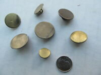 7 Nice Early Military or Militia Uniform Antique Flat Brass Buttons, c.1820-40