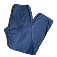 J. Crew Sutton Flat Front Navy Blue Cotton Casual Pants Mens 31 x 32