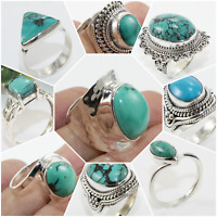 TIBETAN TURQUOISE HANDMADE JEWELRY RINGS IN 925 SOLID STERLING SILVER SIZE 5-10