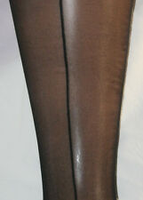 2 pairs - Sheer Black Seamed Tights with Stiletto Heal. Back Seams NEW vintage