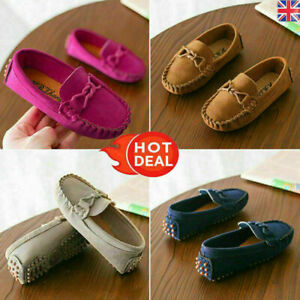 Boys Girls Kids Slip On Flat Loafers Moccasins Leather Boat Casual Shoes Size