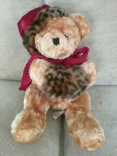 Dan Dee Teddy Bear Red Velvet Leopard Hand Muff Hat Plush Stuffed Toy Sitting