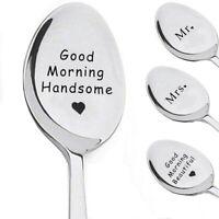 Couple Stainless Steel Coffee Tea Dessert Ice Cream Spoon Long Handle Tableware-